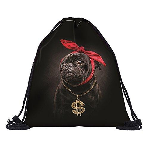 Leah 's Fashion® Doggy & Kitty Einhorn Kordelzug Rucksack String Bag 3D Sackpack für Kinder (39* 30cm), cute pug