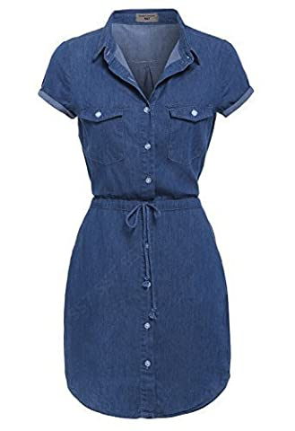 SS7 NEW Denim Blue Shirt Dress Sizes 8 - 14 (UK - 12, Denim Blue)