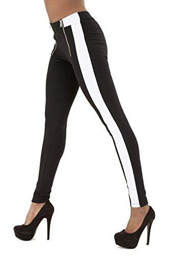 Donna Leggings Neri con Strisce bianche pantaloni, taglia 68101214 Black 34