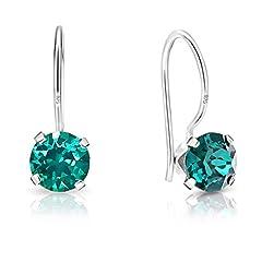 Idea Regalo - DTP Silver - Orecchini da donna Rotondi con gancio - Argento 925 con Cristallo di Swarovsky - Colore: Smeraldo