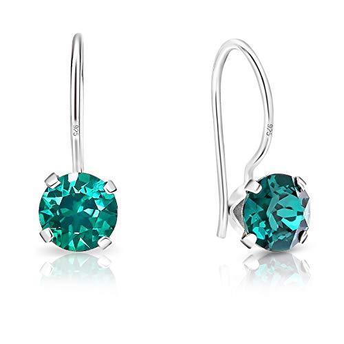 DTP Silver - Orecchini da donna Rotondi con gancio - Argento 925 con Cristallo di Swarovsky - Colore: Smeraldo