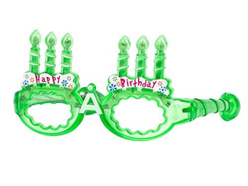 Alsino Blinkende LED Partybrille Happy Birthday Brille (grün)