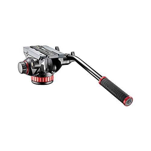 Manfrotto MVH502AH Pro Fluid Video Neiger (Inkl. flacher Basis und 504PL) schwarz/rot