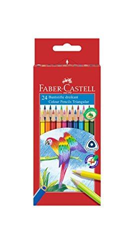 Faber-Castell 116544 - Buntstifte dreikant, 24er Kartonetui