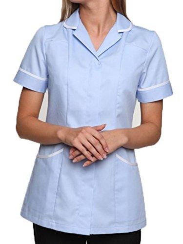 Nightingale Health Healthcare Nurses Doctors Therapist Massage Tunic Uniform (20, Sky Blue/White)