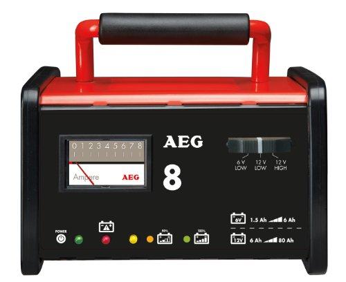 AEG 97008 Caricabatteria da officina WM 8 ampere per batterie da 6 a 12 V, CE, IP 20