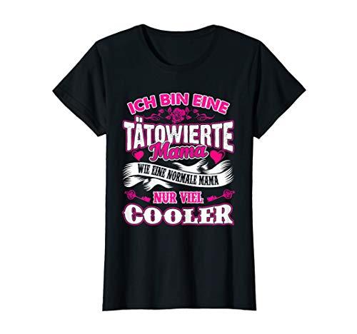 Damen Ich bin eine Tätowierte Mama Shirt Tatto Herz Rose Geschenk T-Shirt -
