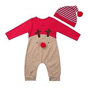 dPois Pelele Navidad Ciervos Bebé Niño Niña Recién Nacido Pijama Mono Manga Larga Ropa Infantil Navidad Reno Nariz Rojo… 4