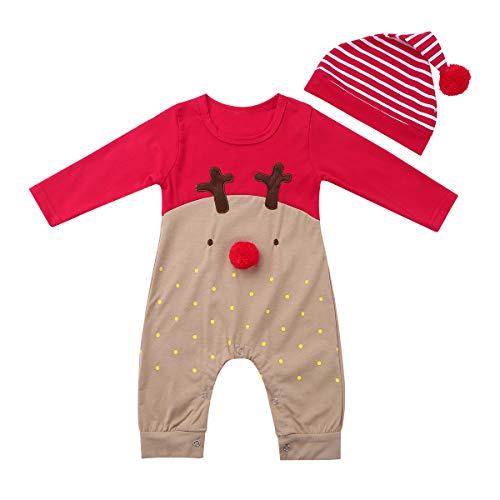 Agoky Baby Mädchen Jungen Weinachten Kostüm Roter Nasen Rentier Pyjama Overall mit Rot weiß Gestreifte Mütze Hut Rot 68-74/6-9 Monate (Rot Hut Gestreifte)