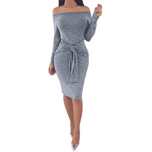 Longra Damen Schulterfrei kleid Beiläufiges Langarm Minikleid T-shirt kleid Mit Gürtel Frauen Party Mini Kleid Tunika (M, Gray) (Kleine Spaghetti Damen)