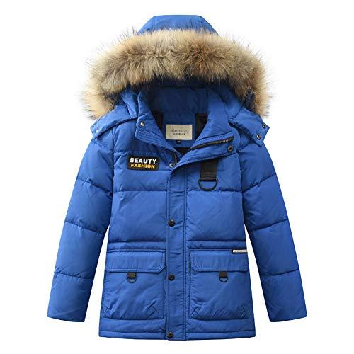 WANPUL Giubbotto Piumino Invernale Bambino Giacca Invernale Ragazzi Cappotto Parka Caloroso Confortevole Giacca Cappuccio Blu 170