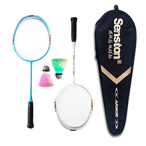 Senston Graphite Badmintonschläger Set für Kinder Junior Badminton Racket Kit (3 Farben) Inklusive 2 Schläger/2 LED Federball/1 BadmintonSchläger Tasche