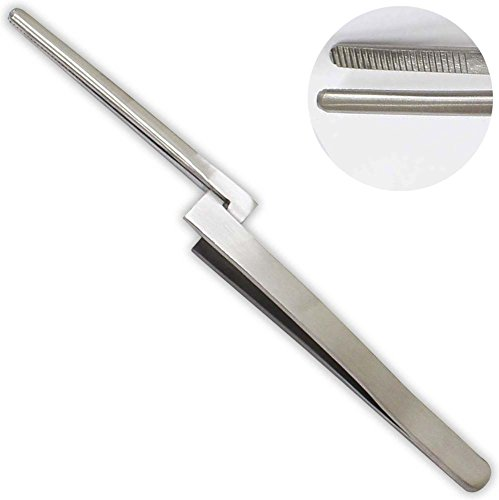6-1/4 Inch Stainless Steel Rounded Nose Cross Lock Tweezers by ToolUSA - Vise-lock