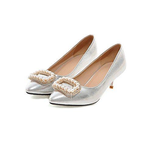 VogueZone009 Femme à Talon Correct Verni Mosaïque Tire Fermeture D'Orteil Pointu Chaussures Légeres Argent