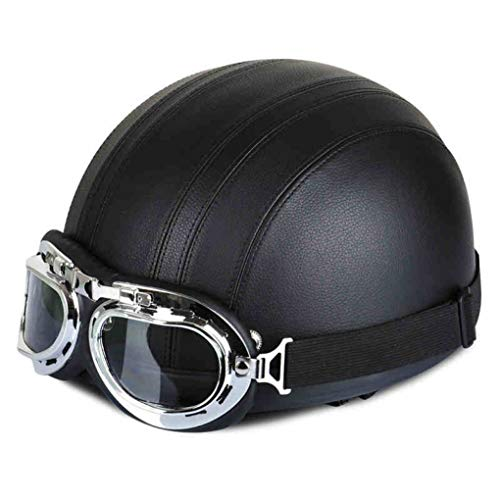 OLEEKA Motorrad Classic Vintage Helme begabte Kunstleder bedeckt halbes Gesicht mit Schutzbrille Shell passt Männer Frauen Ace Vintage Hut
