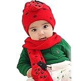 Bonnet Enfant, Kolylong®BéBé Chapeau De Chapeau éCharpe TwinSet Coton Beatles Enfants Chapeau + éCharpe (Rouge)