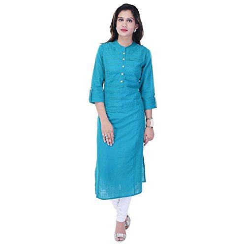 Ahira Solid Women's Straight Kurta (Turquoise)