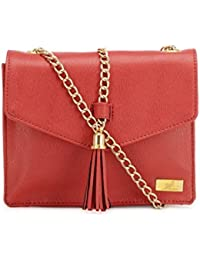 Yelloe Smart Red Synthetic Leather Sling Bag With Metal Chain For Evening Party