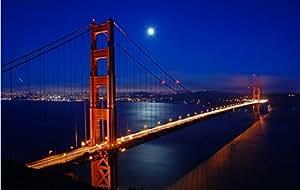 Rétroéclairé Golden Gate Bridge la nuit avec LED Scène clair de lune tendue sur toile, fonctionne avec pile, 8 LED pour la mur-prêts à poser