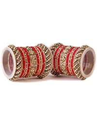 Traditional Red Silk Thread Bangle Set By Leshya For Two Hands