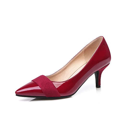 b9f8604f66c AgooLar Women s Pointed Closed Toe Kitten Heels Solid Pull On Pumps Shoes