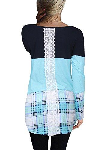 Donna Blusa Manica Lunga Primavera Autunno Splicing A Quadri Camicie Rotondo Collo Top Slinky Eleganti Maglietta Casual Plain Tshirt Ragazze Reticolo Blu