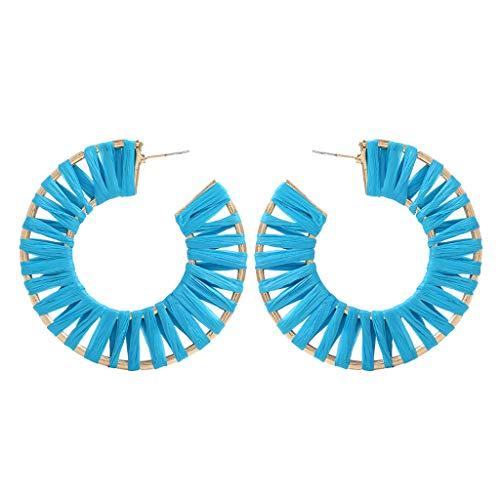 Juwelen Kinder Schuhe (LILICAT_Schmuck Böhmisches Ohrringe Mode Rattan Handgemachte Ohrringe Bunte Rattan Creolen Anweisung Ohrringe Regenbogen geometrische Ohrringe für Mädchen Damen)