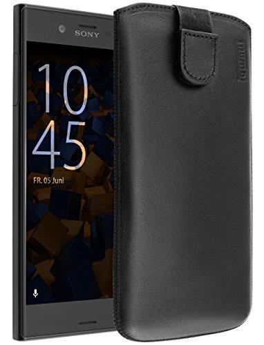 mumbi ECHT Ledertasche für Sony Xperia XZ / XZs Tasche Leder Etui (Lasche mit Rückzugfunktion Ausziehhilfe)