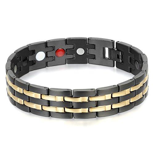 Oidea Herren Edelstahl Armband, 15MM Gro?Breit Magnettherapie Gesundheit Armreif Link Handgelenk, Schwarz Gold