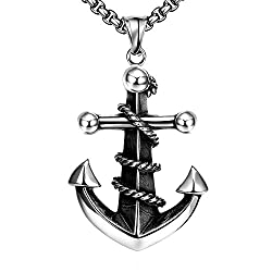 ChristineStore Mens and Womens Anchor Cross Necklace Stainless Steel Charm Pendant Necklace Rope Inlace by ChristineStore