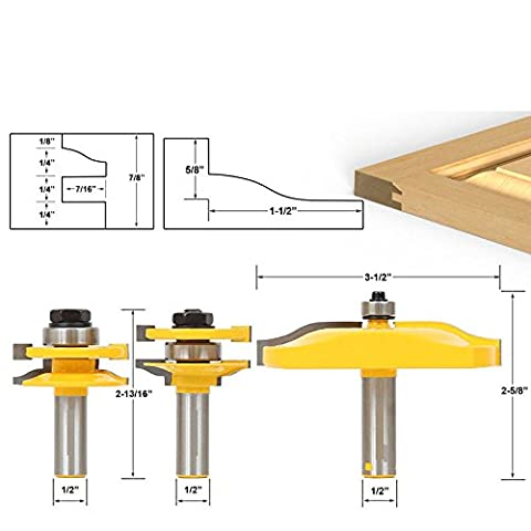 Tiptiper 3pcs Fräser 1/2 Griff Schrank Tür Panel Glas Cutter Werkzeug Router Bits Handwerkzeug Holzbearbeitung Cutter