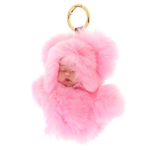 Baoblaze Porte-clés Pompon Pendentif Motif Bébé Dormi Bijoux Mignon pour Femme Fille - Rose