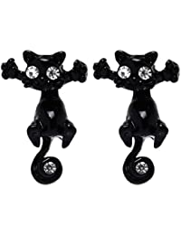 Moda de Mujeres de Señora Linda de Color de Caramelo de Gato Gatito Pendientes de Perno Prisionero de Joyería Negro