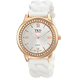 TKO Women's Round Rose Gold Metal Crystal Bezel White Stretch Expansion Rubber Chain Link Roman Numeral Watch TK640RWT