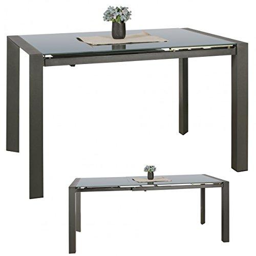 Esszimmertisch 122 - 182 cm ausziehbar dunkelgrau Metall / Glas - Tisch für Esszimmer rechteckig - Küchentisch 4 - 8 Personen - Design Esstisch