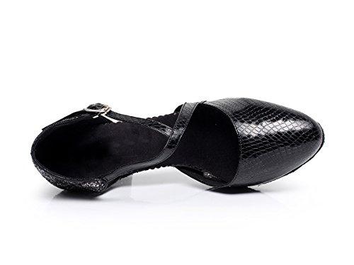 Minitoo qj7045Donna Punta Chiusa sintetica Latina Salsa Tango Danza scarpe Black