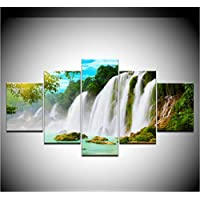 sxkdyax No frame Waterfall Wall Stickers 5 piece Wallpapers modern Modular Poster art Canvas painting for Living Room Home Decor