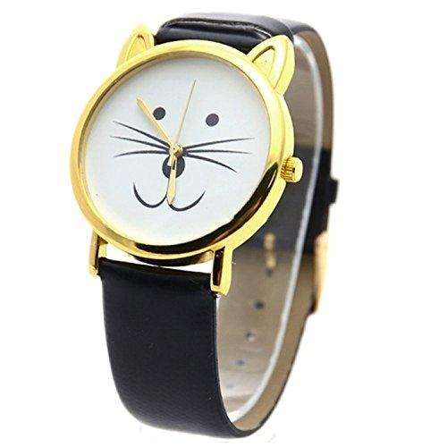 Minetom Niedlich Katzengesicht Runden Zifferblatt Leder Armband Dekoration Quarz Analog Uhr Wrist Watch Unisex