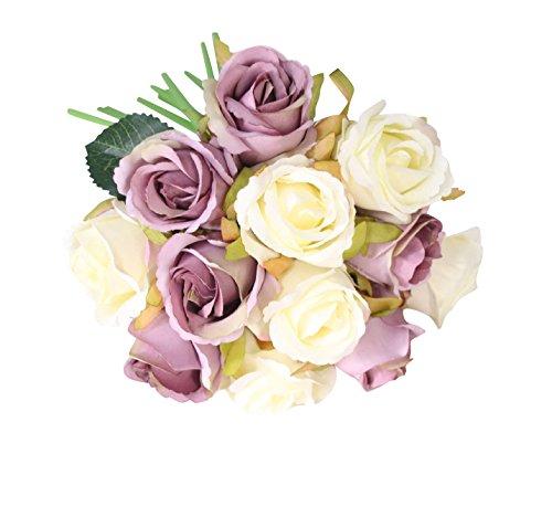 5 Piezas Vintage ramo de flores de rose para Boda Nupcial Partido Hogar Oficina de la Decoración Blanco Morado