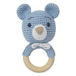 Häkel-Bärchen – Häkel-Bär – Amigurumi Greifling – Rassel – Ring aus Holz – Babyrassel – Geschenk für Babys – Jungen – blau – Babyspielzeug