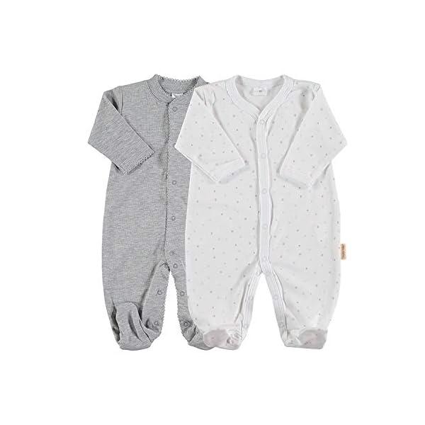 Petit Oh! - Pack de 2 Pijamas de Manga Larga para bebé 100% algodón Pima Talla 3-6 Meses 1