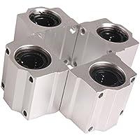 Cojinete de bola de movimiento lineal - TOOGOO(R) 4 piezas SC20UU 20mm casquillo deslizante de cojinete de bola de movimiento lineal de aluminio para CNC