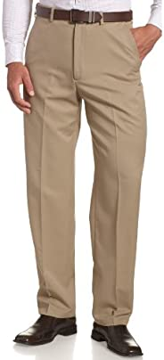 Haggar Men's Cool 18 Hidden Expandable-Waist Plain-Front Pant, Classic