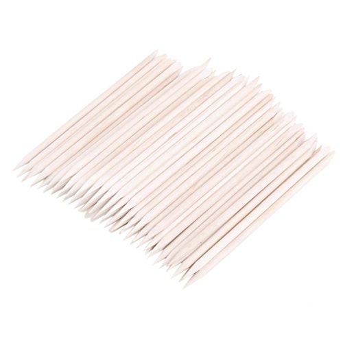 Leoboode100Pcs Nail Art Orange Wood Stick Cuticle Pusher Remover Spade Shape Manicure Nails Toolc Nail Art Care Double Sided Stick