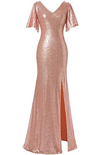 Promgirl House Damen Scheind Lang Etui V-Ausschnitt Schlitze Satin Paillette Cocktail Brautjungfernkleid Ballkleider Brautkleid Lang Rosa