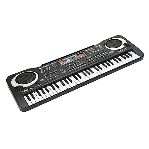 Klavier für Kinder, JINRUCHE Multifunktions 61 Mini-Tasten Elektronische Orgel Klavier Musical Teaching Keyboard Spielzeug (Schwarz)