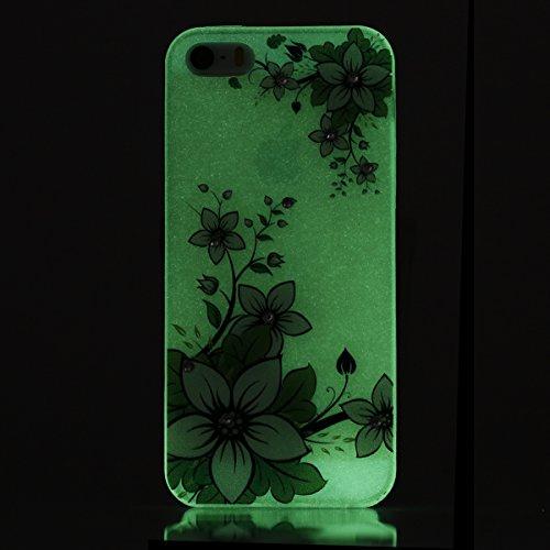 Apple iPhone SE/5S/5 Case Silicone - Felfy Ultrathin Slim Soft Gel Mode Silicone Lichtdurchlässig TPU Peinture Rose Motif Fleur de Diamant de Bling Glitter étincelle Strass Cristal Creative design écl #31