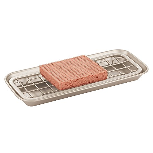 mDesign porte-savon et éponge – organiseur d'évier, kit composé de bac d'égouttement et d'égouttoir – support plat d'évier pour une meilleure organisation du plan de travail de la cuisine