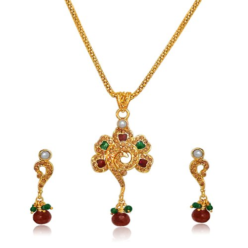 Surat Diamonds Flower Shape Red & Green Enamel, Polki & Gold Plated Pendant Necklace & Earring Set for Women (PS43)  available at amazon for Rs.179