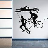 Wanghan Home Decor Sport Triathlon Adesivo Da Parete In Vinile Concorso Sportivo Multiplo Adesivo Moto Da Corsa Stampe Murali 59X57